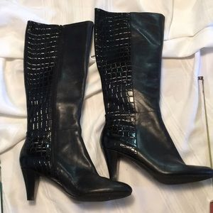 Easy Spirit black heeled boots leather size 7.5 M